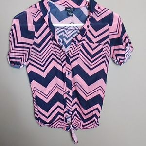 Rue 21 Pink  Button-up Tied Blouse with Pocket!